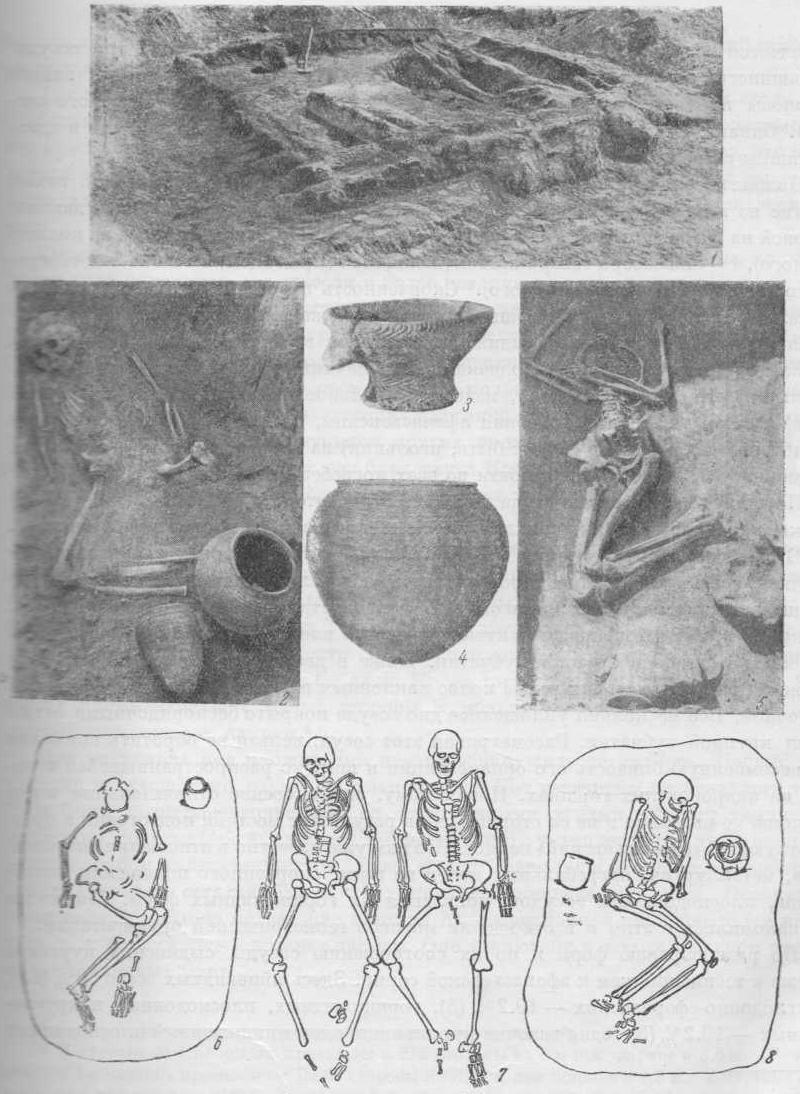 Глиняные сосуды из афанасьевского кургана у с. Теси 1932 г. (рис. 3 и 4). Виды погребений у с. Сыды (рис. 2), с. М. Копены (рис. 5) в Хакассии и у с. Курота (рис. 1, 6—8) на Алтае.