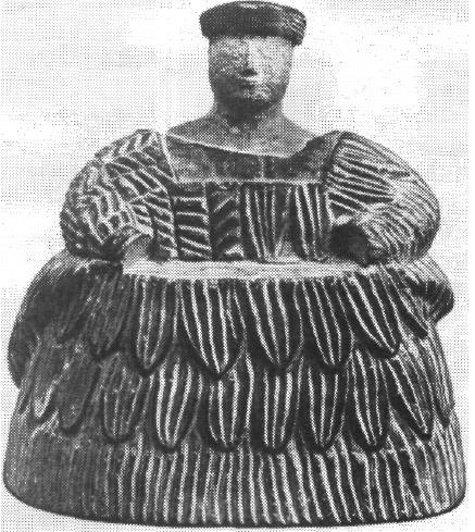 Рис. 44. Северный Афганистан. Фигура сидящей женщины. Камень.