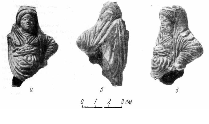Рис. 1. а, б, в — статуэтка женщины из святилища Афродиты в Нимфее