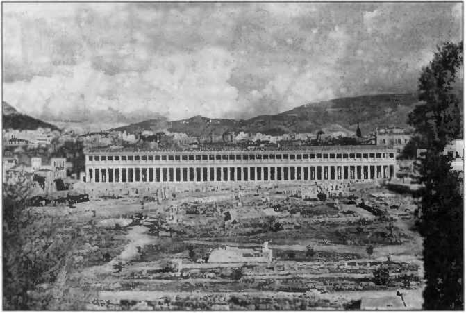Общий вид раскопанной Агоры с восстановленной стоей Аттала