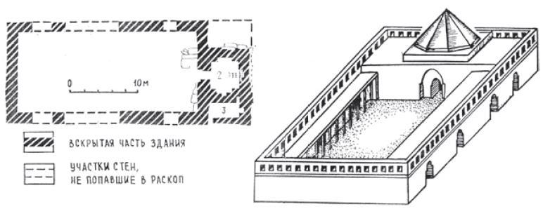 Рис. 6.24. Реконструкция христианского храма. Аксонометрия и план. Городище Ак-Бешим