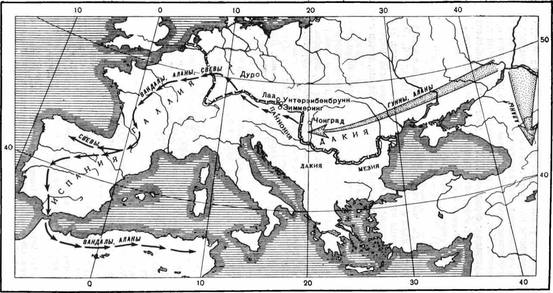 Рис. 1. Путь алан через Европу