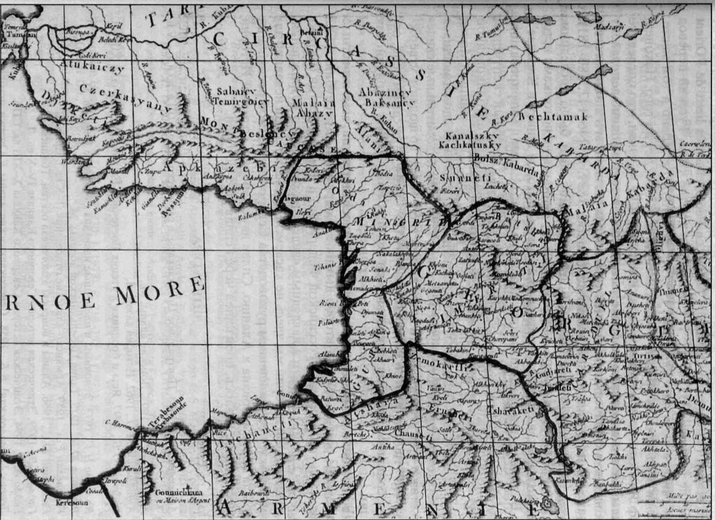РИС. 2. Фрагмент карты Причерноморья, опубликованный в 1769 г. Робертом де Вогонди