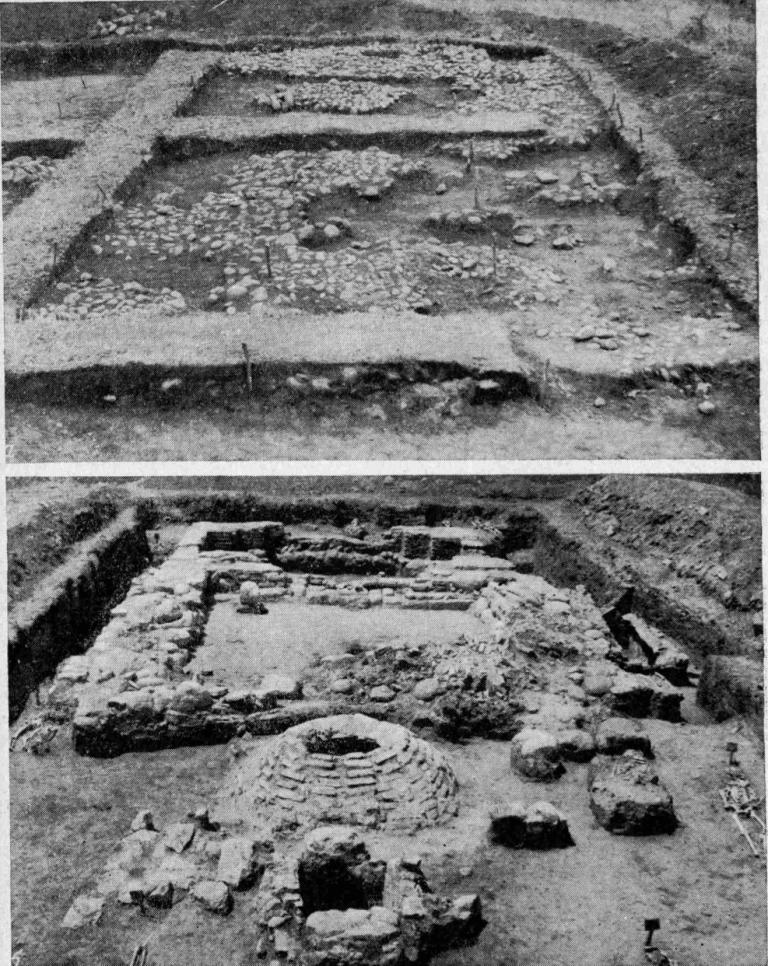 Рис. 31. Верхне-Джулатское городище. а - остатки булыжной мостовой в раскопе 1; б — руины церкви № 2, вид с востока; на переднем плане крипта