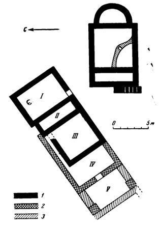 Рис. 32. Нижне-Архызское городище. План церкви № 4 и комплекса жилых и производственных помещений I—V — помещения I—V; 1 — первый строительный период; 2 — второй строительный период; 3 — третий строительный период