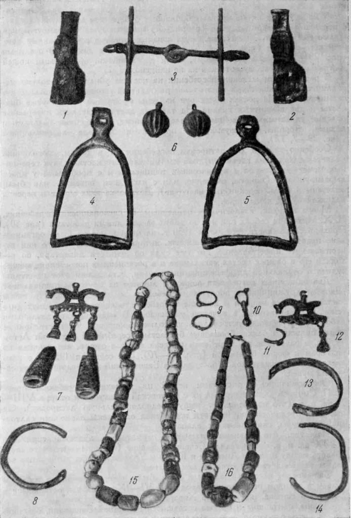 Рис. 29. Аланский могильник близ г. Стерлитамака. 1—6 — инвентарь мужских погребений; 7—16 — инвентарь женских погребений