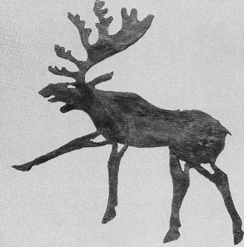 68. Фигура лося, вырезанная из кожи. Пазырык, второй курган.