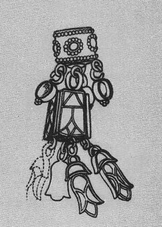 72. Золотая серьга (штриховой рисунок). Пазырык, второй курган.