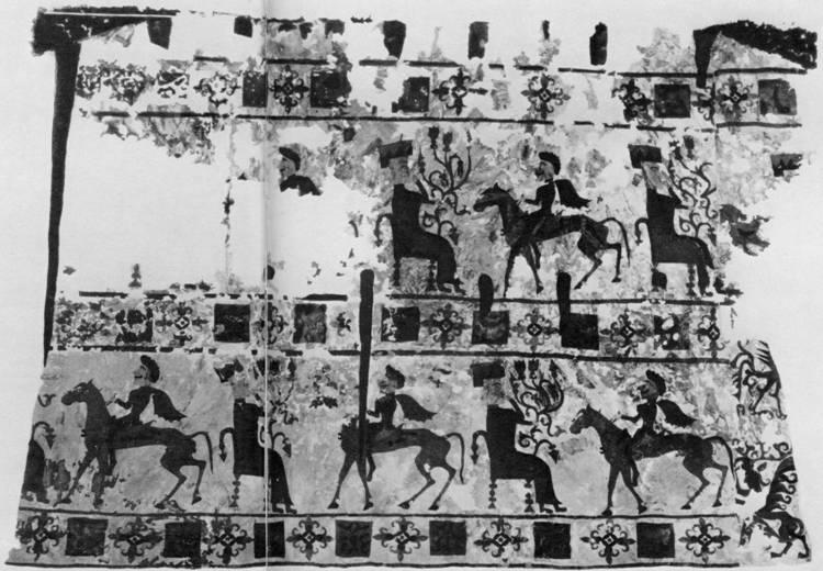 76. [с. 60-61] Войлочный ковер с аппликациями. Пазырык, пятый курган.