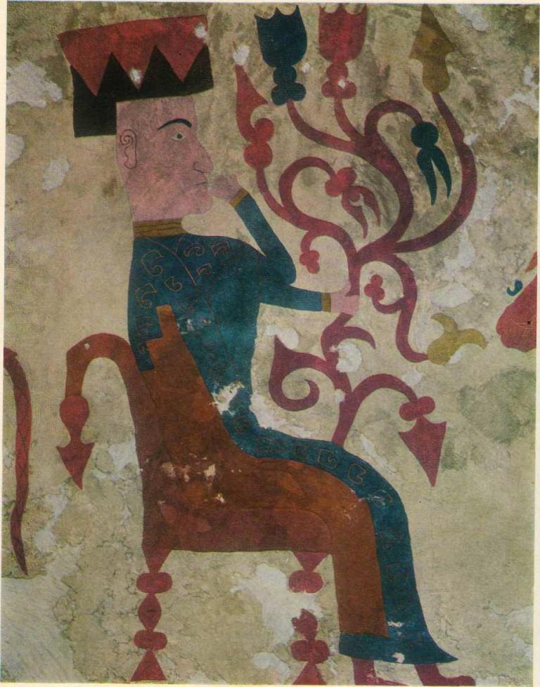 77. Войлочный ковер с аппликациями. Деталь — богиня в кресле.