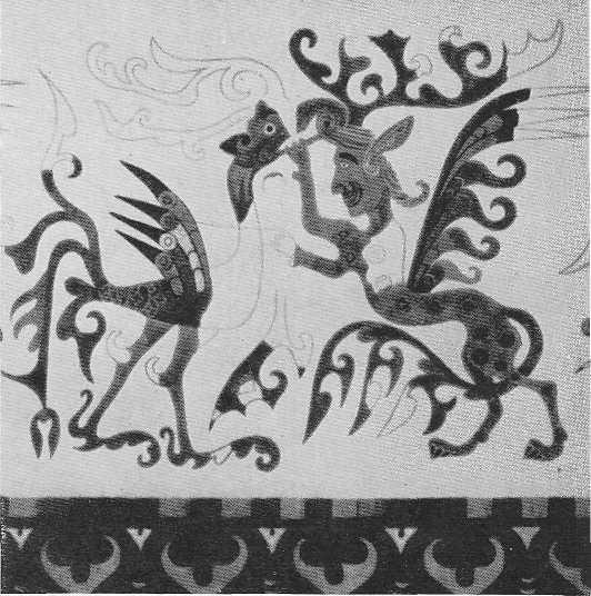 80. Реконструкция сцены борьбы человека-зверя с птицей на войлочном ковре с аппликациями.