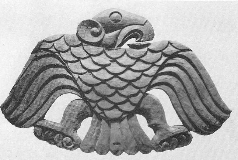 88. Деревянное украшение седельной луки — птица с раскрытыми крыльями. Башадар, второй курган.