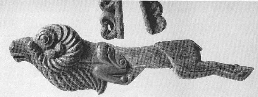 89. Деревянный псалий — скачущий баран. Пазырык, первый курган.
