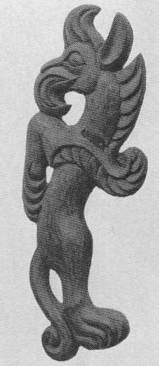 91. Деревянный грифон с перевёрнутым туловищем. Туэкта, первый курган.