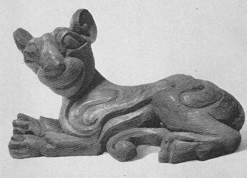 94. Скульптурная фигурка кошки на подставке. Пазырык, второй курган.