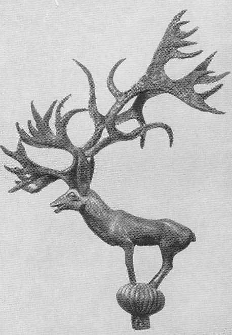 98. Скульптурная фигура оленя с большими рогами. Пазырык, второй курган.