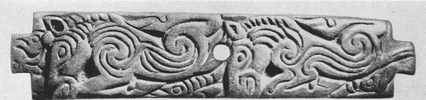 106. Роговая пластинка с фигурами двух лошадей. Саглы-Бажи, курган №8.