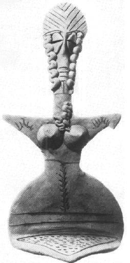Рис. 41. Алтын-депе. Женская статуэтка. Терракота.