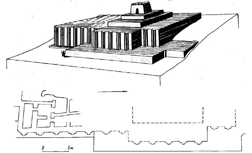Рис. 42. Алтын-депе. Культовый комплекс. План и реконструкция.