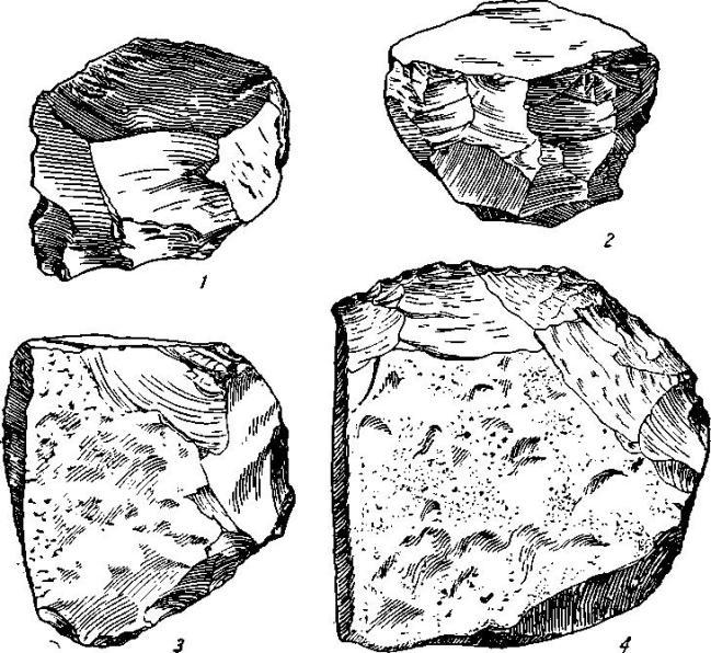 Рис. 13. Амир-Темир. Орудия из мустьерского слоя. 1—2 — нуклеусы; 3—4 — скребла.