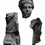 Рис. 26. Фрагменты скульптур с городища Горгиппии. 1 — нижняя часть мраморной статуэтки; 2 — мраморная головка богини; 3 — фрагмент терракотовой статуэтки