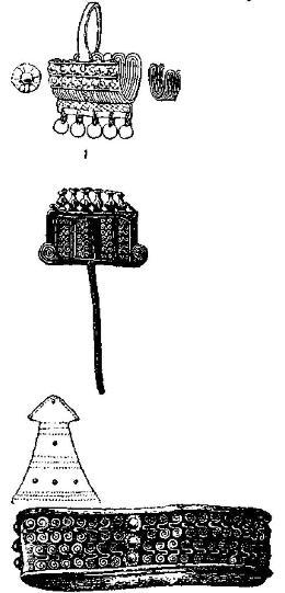 Рис. 22. Золотая серьга и нодвеска из клада А, булавка из клада D, браслет из клада F и булавка с узловидными головками.