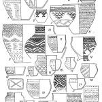 Рис. 57. Андроновская эпоха. Андроноидный культурный массив. Томское Приобье. Еловская культура. Еловский II могильник  8, 9, и, 14, 16, 25 — керамика первой группы; 2—7, 10, 12, 15, 1J, 17—25 — посуда четвертой группы (ритуальная?). 1—4 — могила 87; 5, 8 — могила 68; б, 9—11 — могила 73; 7 — могила 22; 12, 17, 15 — могила 112; 13, 14 — могила 95; 15, 16 — могила 88; 19—21 — могила 92; 22—24 — могила 86; 25 — могила 103; 26 — могила 106