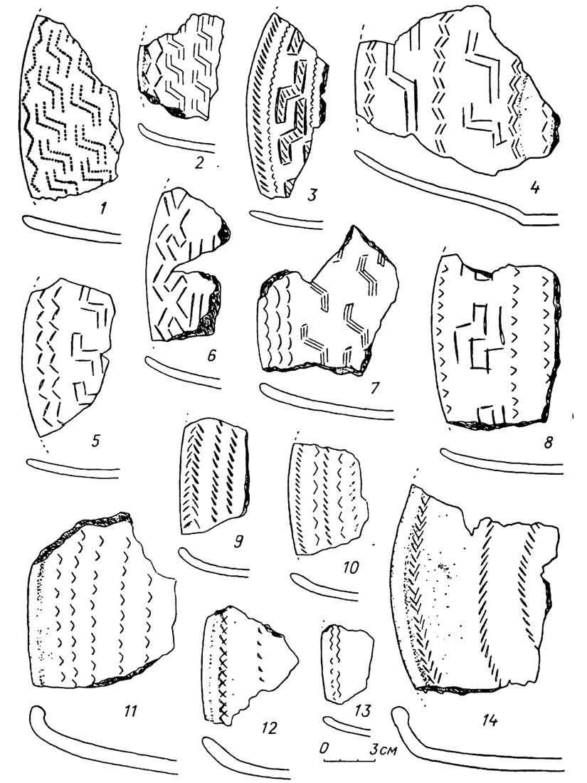 Рис. 49. Бронзовый век. Район Нижнего Тагила. Глиняные блюда Горбуновского торфяника (1—14)