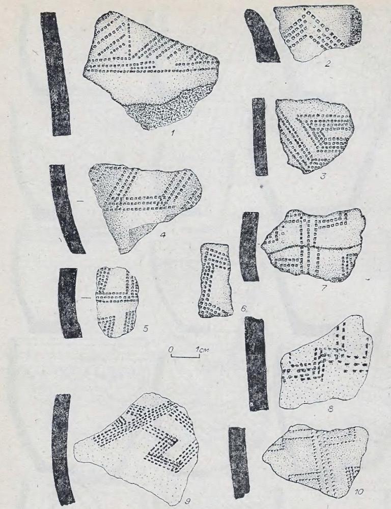 Рис. 52. Фрагменты андроновской (федоровской керамики). Поселение Каргат-6. Керамика I типа.