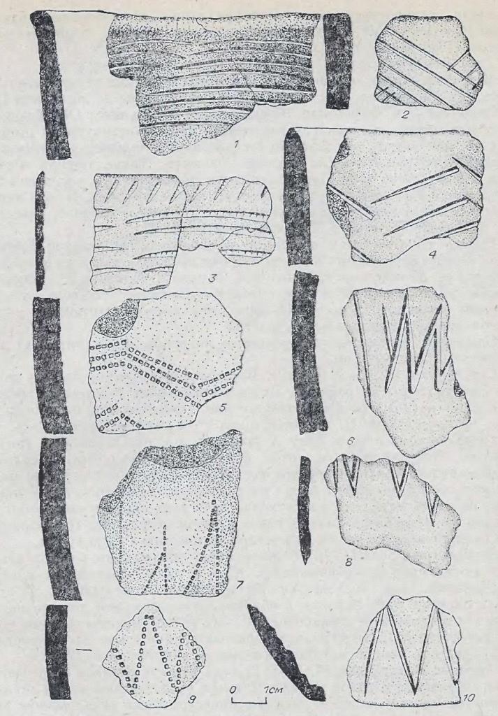Рис. 53. Фрагменты андроновской (федоровской) керамики. Поселение Каргат-6. Керамика II типа.