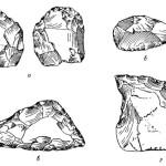 """Рис. 24. Каменные палеолитические орудия со стоянки Ангачи (1/2 натур, вел.). а — типа """"ручного рубила""""; б—в — типа скребла; z — провертка в соединении со скреблом."""