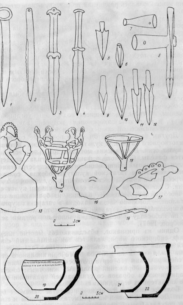 Предметы татарской культуры: 1-2 ножи; 3, 4 — кинжалы; 5, 6 — бронзовые наконечники стрел; 7 — вток; 8 - чекан; 9—12 — костяные наконечники стрел; 13 - фигурка горного барана, 11, 15 — факелы; 16 - бляшка «зеркало», 17 - бляшка «олень»; 18 — коромыслообразный предмет; 19-22 - сосуды