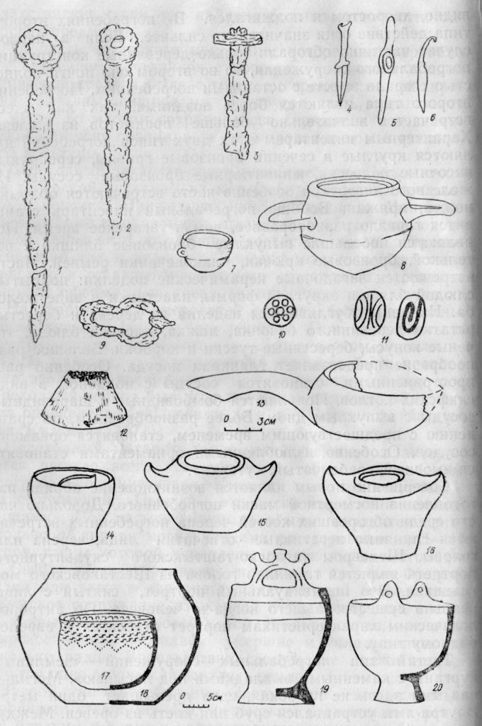Предметы переходного тагарско-таштыкского периода из могильника Шестаково I: 1, 2 — железные ножи; 3 — железный кинжал; 4—6 — миниатюрные бронзовые кинжал, чекан, нож; 7, 8 - бронзовые сосуды; 9 - железная пряжка; 10, 11 — глиняные бляшки; 12 — деревянный конус; 13 — деревянная ложка; 14—20 — глиняные сосуды