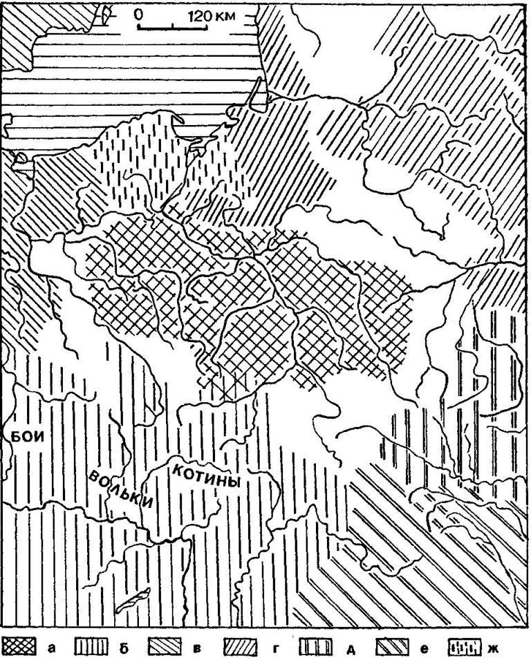 Рис. 42. Начало кельтской экспансии в Висло-Одерский регион. Ареалы: а — культуры подклешевых погребений (славяне); б — кельтов; в — германцев; г — балтов; д — скифов; е — дако-фракийцев; ж — поморско-оксывских племен