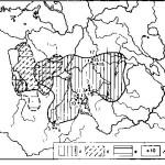Рис. Ареал сопок, курганов с кольцевой валунной обкладкой и ранних жальников (схематично). а — сопки; б — территория плотного распространения курганов с кольцевой валунной обкладкой; в — ареал ранних жальников; г — курганы с кольцевой валунной обкладкой - и курганно-жальничные могильники в пределах плотного распространения сопок. 1 — Русское Большое; 2 — Миробудицы; 3 — Ивантеево; 4 — Яколово; 5 — Дохино; б — Курово; 7 — Точилово; S — Пухтеево; 9 — Горки; 10 — Горное; 11 — Заболотье; 12 — Боково; 13— Кожино; 14 — Марконицы; 15 — Жуково-Дрегли; 16 — Чисть; 17 — Клишино