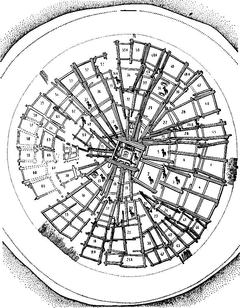 Рис. 1. Аржан. План-схема могильного сооружения. Фигуркой коня отмечены камеры с конскими захоронениями, овалами — колоды с захоронениями людей
