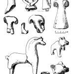 Рис. 48. Глиняные игрушки и пряслице