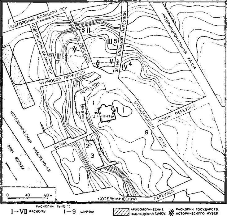 Рис. 45. План района работ в устье р. Яузы (сечение горизонталями через 1 м.)