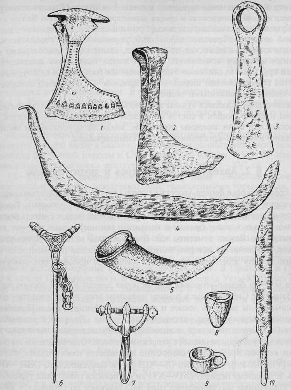Материальная культура балтов: 1, 5 - балты; 2 - литва; 3, 4, 6-10 - латыши