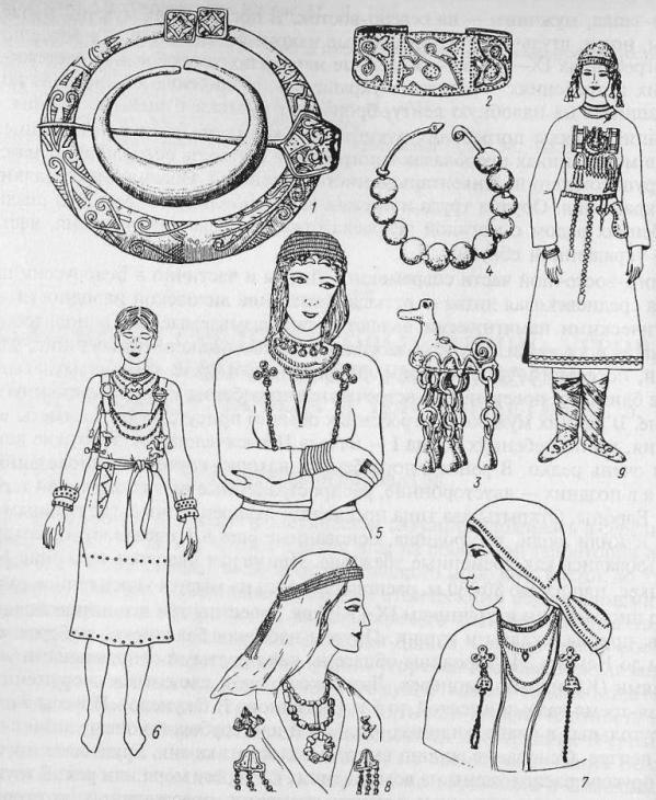 Женские украшения финно-угров и балтов: 7, 9—корелы; 2—4, 7— ливы, эсты, водь; 5— балты; 6 — литва; 8 — курши