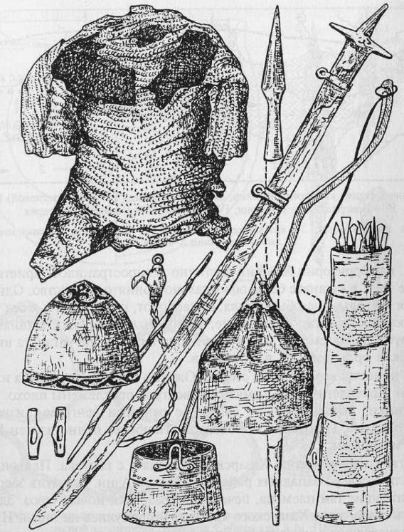 Предметы вооружения половецких воинов: кольчуга, сабля, железные шлемы, берестяной колчан со стрелами, лук, копье, котел (по С.А. Плетневой)