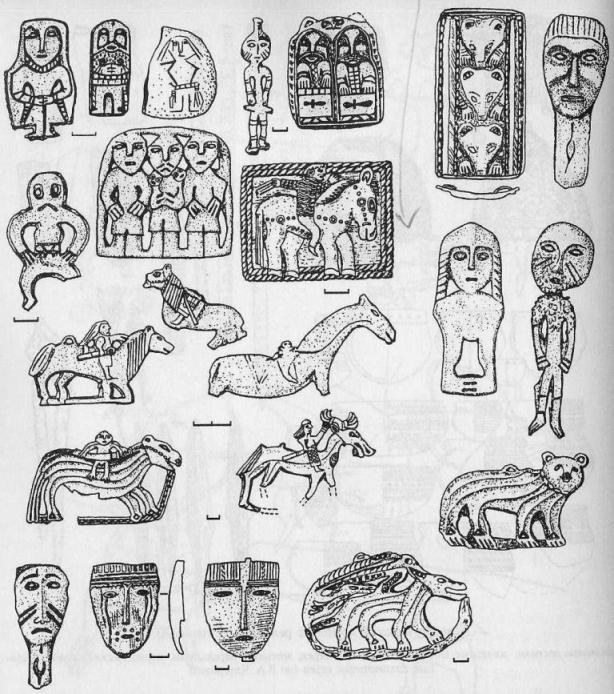 Антропоморфные и зооморфные металлические изображения релкинской культуры (по Л.А. Чиндиной)
