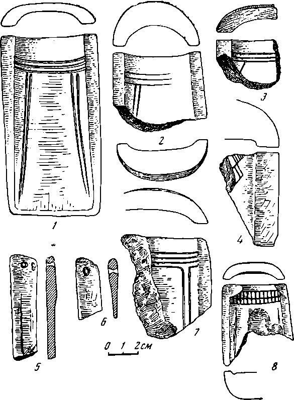 Рис. 1. Самусьское поселение 1— 4, 7,8 — литейные формы кельтов; 5,6 — точильца