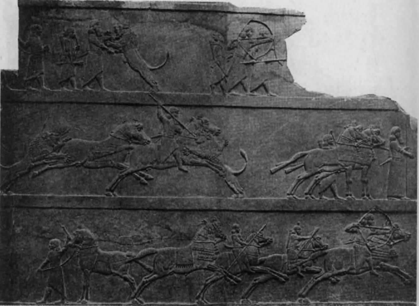 89. Ассирийская охота на львов.