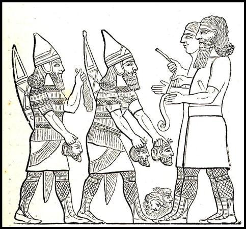 Подсчет голов убитых врагов в ассирийской армии.