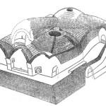 Рис. 6.21. Аксонометрический разрез здания нижнего горизонта. Баба-Ата