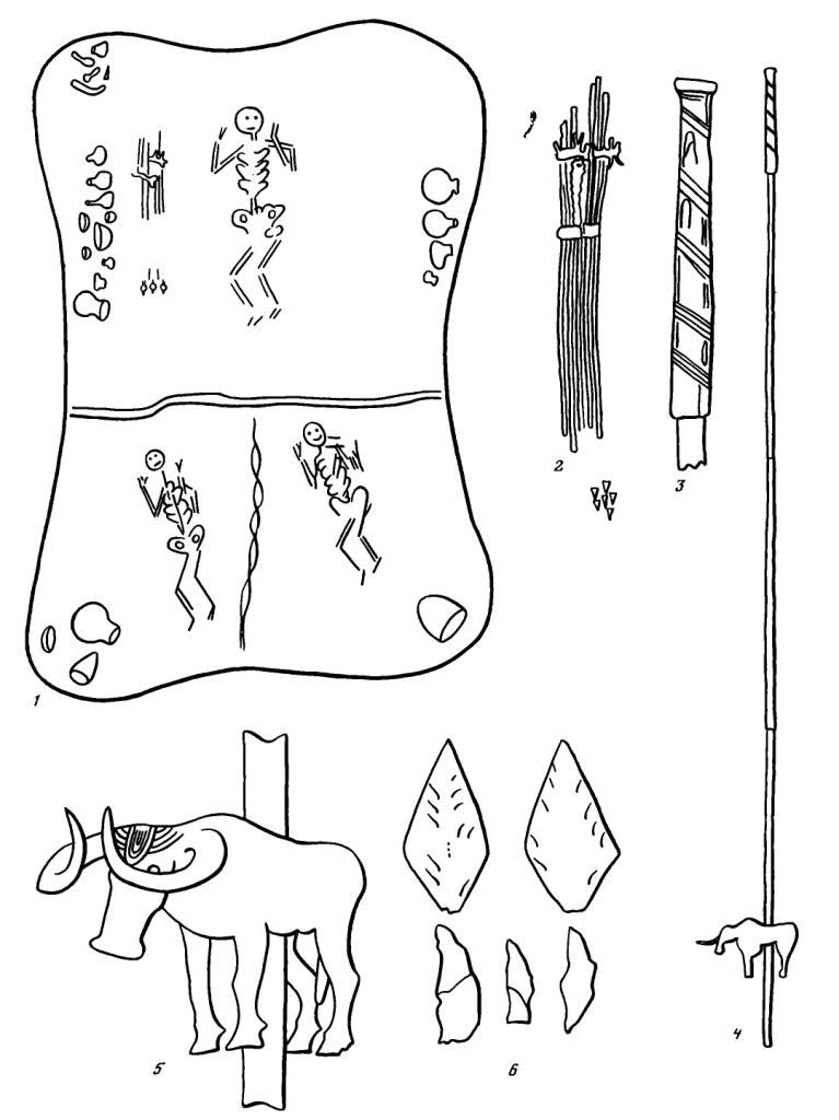 Рис. 1. Комплекс предметов, Майкопский курган. 1 — план основного погребения по рисунку Веселовского; 2 — расположение металлических трубок и наконечников стрел, с рисунка Рериха в МАР, 34; 3 — навершие трубки; 4 — общий вид трубки с золотым окончанием и фигуркой; 5 — фигурка быка на трубке; 6 — наконечники и сегменты; (3—6 — прорисовки фотографий в ОАК и МАР)