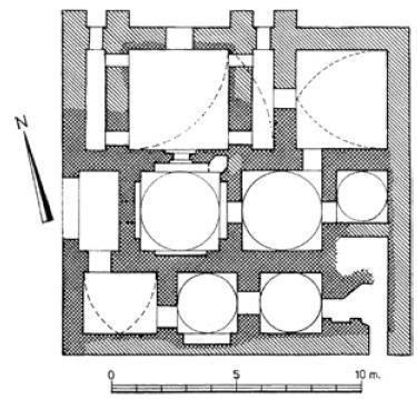 Рис. 6.4. Баня. X—XI вв. Реконструкция плана и геометрический анализ помещений. Тараз.
