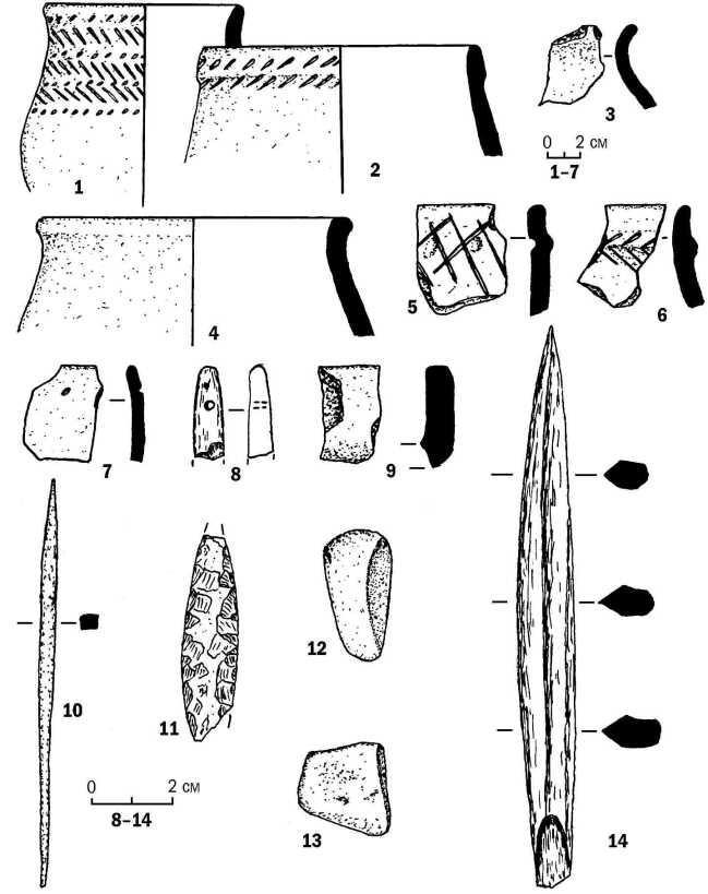 Рис. 4. Инвентарь поселений Барсучиха-4 (1-11, 14) и Барсучиха-6 (12, 13); 1-7, 9 — керамика; 8, 14 — кость; 10— бронза; 11-13 — камень