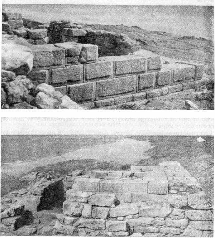 Рис. 25. Городище Беляус. Башня. Вид с северо-запада (1) и с востока (2)